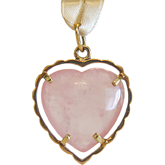 Vintage Rose Quartz pendant, 14k yellow gold, ca.1960