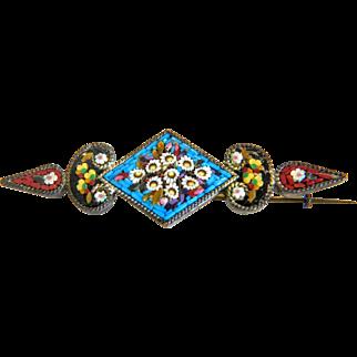 Antique Micro Mosaic brooch, silver 800, 19th century