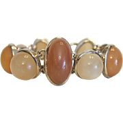 Vintage bracelet with 9 Moonstone cabochons, silver 925, ca.1960