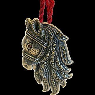 Vintage horse head pendant/ brooch with Marcasites, silver 925, ca. 1940