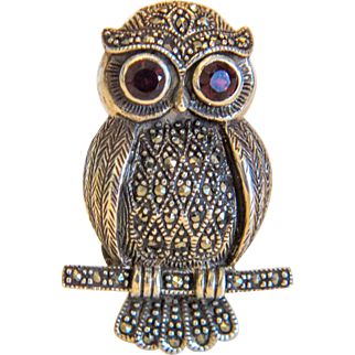 Vintage silver owl brooch with Garnets and Marcasites, silver 925,ca. 1940