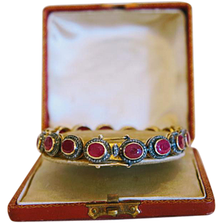 Vintage Ruby and white Sapphire bracelet set in gilt silver, ca. 1920