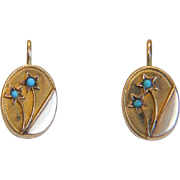 Victorian 14k yellow gold earrings, 19th century