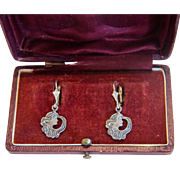 Antique silver lady´s face earrings, ca. 1900
