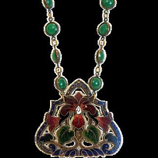 Antique Enamel and Chrysopras necklace, ca. 1900