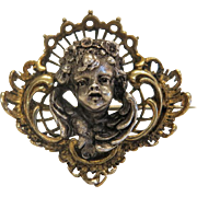 Antique angel head brooch, silver ,19th century