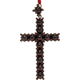 Antique Bohemian Garnet cross pendant, silver 800, 19th century