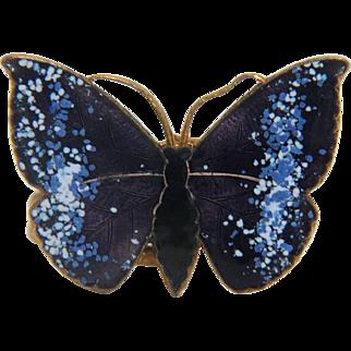 Vintage blue butterfly enamel ring, gilt metal, ca. 1950
