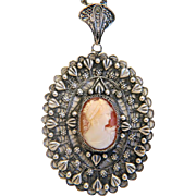 Antique shell Cameo pendant, silver 800, 19th century