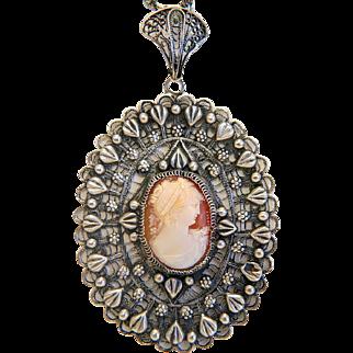 Antique shell Cameo pendant, silver 800, 19th century