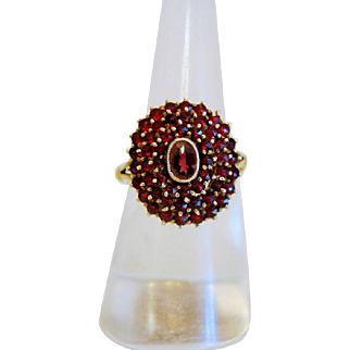 Antique Bohemian Garnet ring, silver 800, 19th century