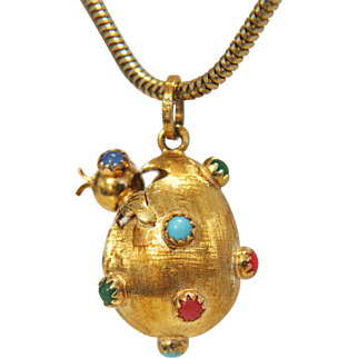 Vintage colorful gem stone pendant, 14k yellow gold, ca. 1970