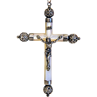 Antique Mother Pearl cross pendant, silver 800,19th century