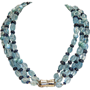 Vintage Aquamarine bead necklace, ca. 1950 - Red Tag Sale Item