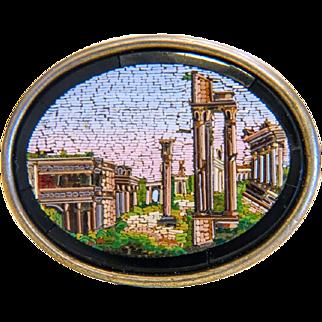 Antique Micro Mosaic brooch , silver 800, 19th century