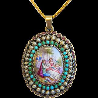 Antique Vienna Enamel locket, gilt silver, 19th century