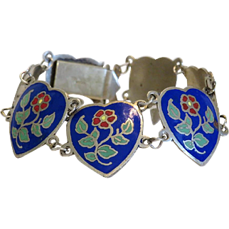 Vintage Siam Sterling  enamel bracelet,dated ca. 1950