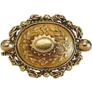 Antique yellow gold brooch, 19th century