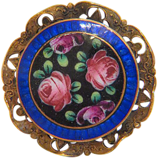 Antique Enamel brooch, gilt metal, 19th century