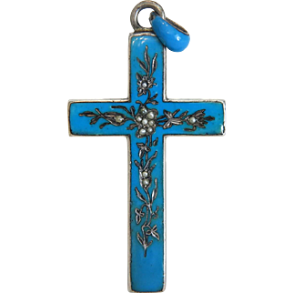 Victorian enamel silver cross pendant with engravings and seed pearls, 19th century