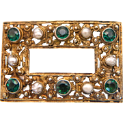 Art Nouveau gilt silver brooch adorned with pearls and synthetic Emeralds, ca.1900