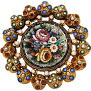 Antique Micro Mosaic brooch,gilt silver, 19th century