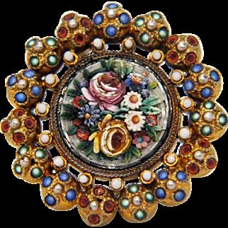 Antique Micro Mosaic brooch,gilt silver, 19th century