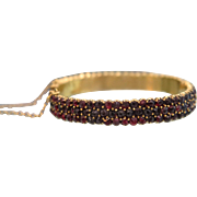 Antique Bohemian Garnet bracelet, gilt silver, 19th century