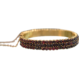 Antique Bohemian Garnet bracelet, gilt silver, 19th century