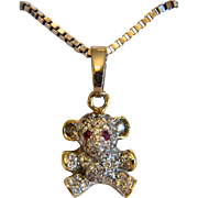 Vintage  mouse pendant, 14 k yellow and white gold, ca. 1960
