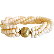 Vintage Coral bead bracelet, 14k yellow gold closure, ca.1940