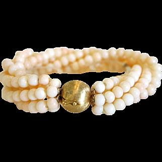 Vintage Coral bead bracelet, 14k yellow gold closure, ca.1940