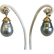 Vintage Pair of pear shaped South Sea pearl ear studs with diamonds, ca.1970