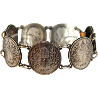 Antique Emperor Franc Joseph Austrian - Hungary sterling silver coin bracelet, early 20th century