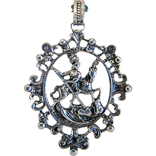 Antique silver pendant depicting St. George the Warrior, silver 800, 19th century