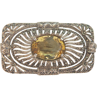 Art Nouveau brooch with a Citrine and Marcasites, silver 935, ca.1910