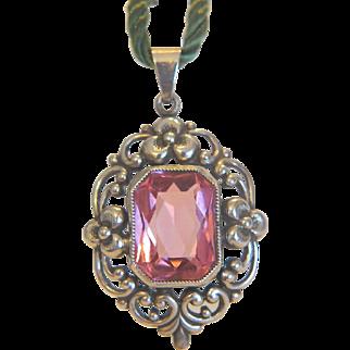 Antique pink Tourmaline pendant, silver 835, 19th century