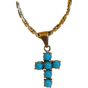 Victorian Turquoise cross pendant, 14k yellow gold, 19th century