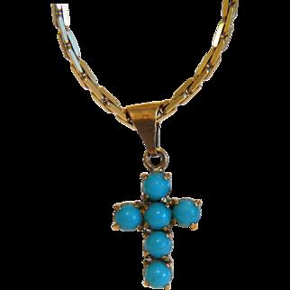 Victorian Turquoise cross pendant, 14k yellow gold, 19th century