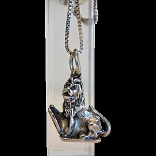 Antique lion pendant ,silver 800, 19th century