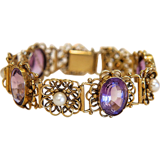 Amethyst and cultured pearl bracelet, 14k yellow gold, ca. 1960