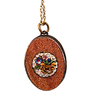 Antique Micro Mosaic pendant, copper mounting, 19th century