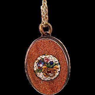 Antique Micro Mosaic pendant, copper mounting, 19th century
