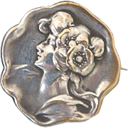 Antique silver brooch, Art Nouveau period, ca. 1900