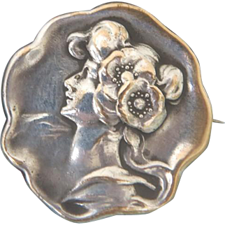 Antique silver brooch, Art Nouveau period, ca. 1900
