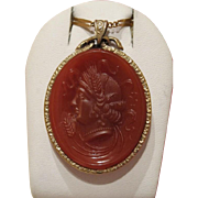 Antique Carnelian Cameo pendant, 18k yellow gold, 19th century