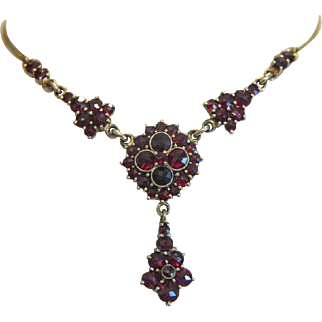 Antique Garnet necklace, 9k yellow gold, Bohemia 19th century