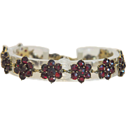 Antique Bohemian Garnet bracelet, 9k yellow gold, 19th century