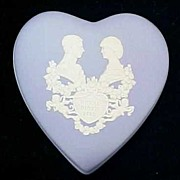 Vintage WEDGWOOD Jasperware Trinket Heart Box Medium Blue / Prince William / The Royal Birth 1982