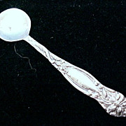 Vintage STERLING SILVER Salt Spoon Floral Art Nouveau Marked .925